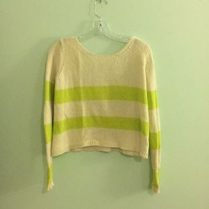 Cream and lime cropped sweater